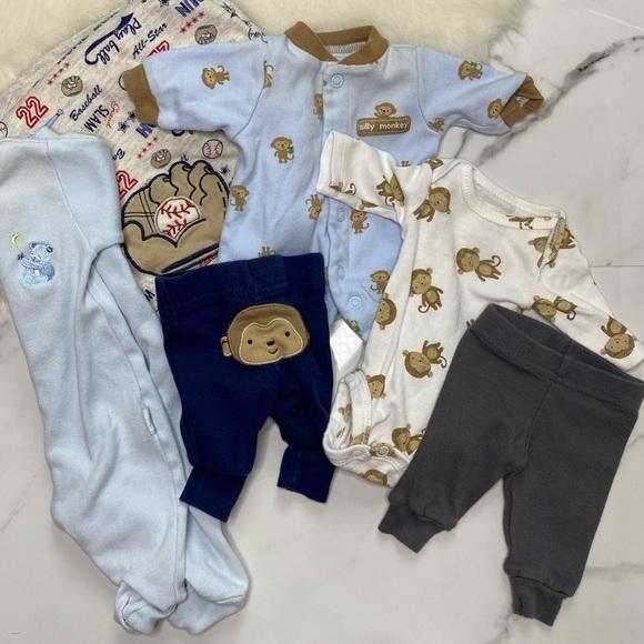 🎉Bundle baby boy footie bodysuit swaddle B4-35